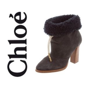 💯 Chloé Shearling Lined Ankle Boots 6